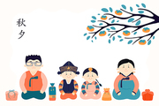 Hand drawn vector illustration for Mid Autumn Festival in Korea, with family, mother, father, children, presents, Korean text Chuseok. Flat style design. Concept for holiday card, poster, banner.