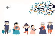 Hand drawn vector illustration for Mid Autumn Festival in Korea, with family visiting grandparents, persimmon tree, Korean text Chuseok. Flat style design. Concept for holiday card, poster, banner.