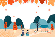 Hand drawn vector illustration for Korean holiday Chuseok, with country landscape, family visiting grandparents, falling leaves, full moon. Flat style design. Concept for card, poster, banner.