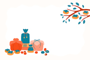 Hand drawn vector illustration for Korean holiday Chuseok, with gifts, persimmons, chestnuts, jujube. Flat style design. Concept for card, poster, banner.