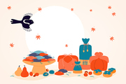 Hand drawn vector illustration for Korean holiday Chuseok, with gifts, persimmons, mooncakes, chestnuts, jujube, pears, leaves, full moon, magpie. Flat style design. Concept for card poster banner