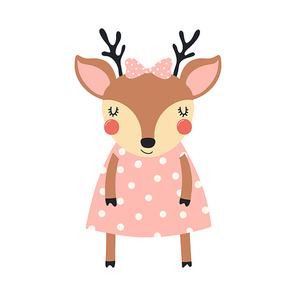 Hand drawn vector illustration of a cute funny deer girl in a pink polka dots dress, with a ribbon. Isolated objects on white background. Scandinavian style flat design. Concept for children print.