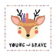 Hand drawn vector illustration of a cute tribal deer in headband with feathers, quote Young and brave. Isolated objects on white background. Scandinavian style flat design. Concept for children print.