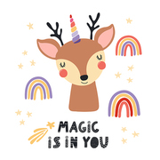 Hand drawn vector illustration of a cute unicorn deer, with rainbows, stars, quote Magic is in you. Isolated objects on white background. Scandinavian style flat design. Concept for children print.