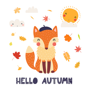 Hand drawn vector illustration of a cute fox in beret, with leaves, sun, clouds, quote Hello Autumn. Isolated objects on white background. Scandinavian style flat design. Concept for children print.