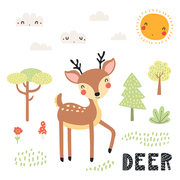 Hand drawn vector illustration of a cute deer in the forest, woodland landscape, with text. Isolated objects on white background. Scandinavian style flat design. Concept for children print.