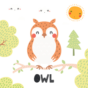 Hand drawn vector illustration of a cute owl in the forest, woodland landscape, with text. Isolated objects on white background. Scandinavian style flat design. Concept for children print.