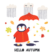 Hand drawn vector illustration of a cute penguin with umbrella, leaves, rain, quote Hello Autumn. Isolated objects on white background. Scandinavian style flat design. Concept for children print.