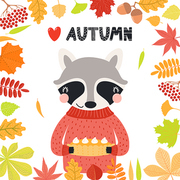 Hand drawn vector illustration of a cute raccoon with pumpkin pie, leaves frame, quote Heart Autumn. Isolated objects on white background. Scandinavian style flat design. Concept for children print.