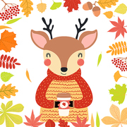Hand drawn vector illustration of a cute deer in autumn, wearing sweater, with coffee cup, leaves frame. Isolated objects on white background. Scandinavian style flat design. Concept children print.