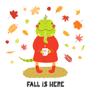 Hand drawn vector illustration of a cute iguana in autumn, with cup of tea, leaves, quote Fall is here. Isolated objects on white background. Scandinavian style flat design. Concept for children print