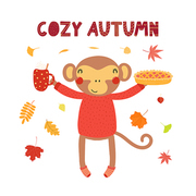 Hand drawn vector illustration of a cute monkey with apple pie, hot drink cup, leaves, quote Cozy Autumn. Isolated objects on white background. Scandinavian style flat design. Concept children print.