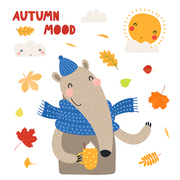 Hand drawn vector illustration of a cute anteater in hat, with hot drink cup, leaves, quote Autumn mood. Isolated objects on white background. Scandinavian style flat design. Concept children print.