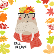 Hand drawn vector illustration of a cute walrus in autumn in leaves wreath, with quote Fall in love. Isolated objects on white background. Scandinavian style flat design. Concept for children print.