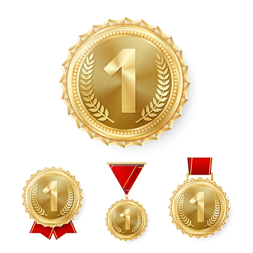 Champion Bronze Medals Set Vector. Metal Realistic 3rd Placement Winner Achievement. Number Three. Round Medal With Red Ribbon. Relief Detail