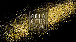 Gold Glitter Texture On A Black Background. Holiday Background. Golden Explosion Of Confetti.