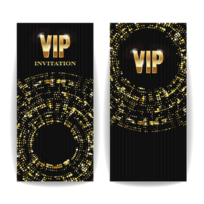 VIP Invitation Card Vector. Sequins Round Dots. Decorative Vector Background. Elegant Template Luxury