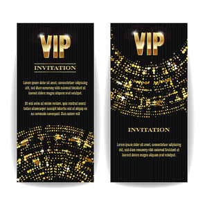 VIP Invitation Card Vector. Party Premium Blank Poster Flyer. Black Golden Design Template. Decorative Template Background. Mosaic