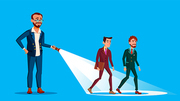 Leader Businessman Illuminates The Way Of His Team With Flashlight Vector Flat Illustration