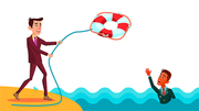 Help A Colleague. Businessman Throws Lifebuoy To Indian Colleague Vector Flat Illustration
