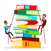 Business Training. Female And Male Business People Climbing Onto Large Stack Of Books Vector Flat Illustration