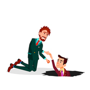 Help A Colleague. One Businessman Pulling Colleague From The Pit Vector Flat Illustration