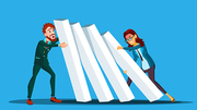 Business Competition Vector. Businessman, Woman From Two Sides Pushing Dominoes At Each Other. Illustration