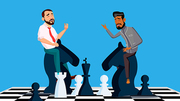 Business Competition Vector. Businessmen Riding Chess Horses Black And White To Meet Each Other. Illustration