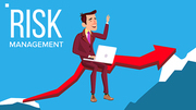 Risk Management Vector. Businessman Sitting With Laptop On Red Arrow Like Bridge Between Rocks. Illustration