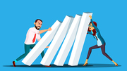 Business Competition Vector. Businessman And Woman From Two Sides Pushing Dominoes Each Other. Illustration
