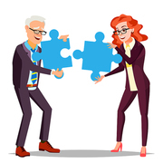 Partnership Vector. Businessman Man, Woman Holding In Hands Two Large Puzzles And Put Together. Illustration