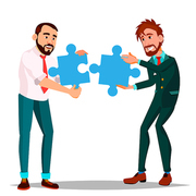 Partnership Vector. Two Man Businessman Holding In Hands Two Large Puzzles And Put Together. Illustration