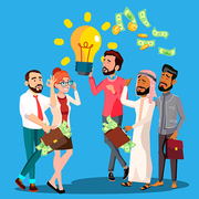 Business Idea Vector. A Man Holding Light Bulb In Hands. Queue Of Multinational Businessmen With Money Bags, Bunch Cash In Hands. Illustration