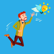 Businessman Jumps And Tries To Catch Idea Vector, Yellow Light Bulb Flying. Illustration
