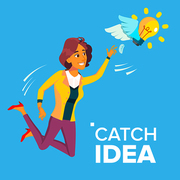 Business Woman Jumps And Tries To Catch Idea Vector, Yellow Light Bulb Flying. Illustration