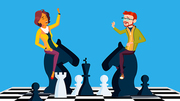 Competition Vector. Businessman And Business Woman Riding Chess Horses Black And White Meet Each Other. Illustration
