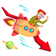 Businessman Riding A Rocket Falls Down Falling Red Arrow Vector. Illustration