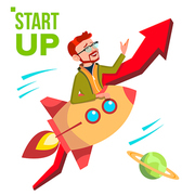 Startup Vector. Rocket Soars Up On Red Arrow Growthing Up. Businessman Enjoying Good Start. Illustration