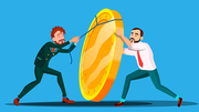 Team Of Employee Pulling Rope To Lift Up Coin Vector. Illustration