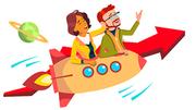 Teamwork And Leader Vector. Team Of Female Male Businessmen Riding Rocket And Flying Up Together. Illustration