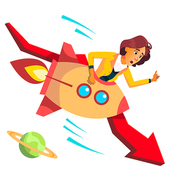 Business Woman Riding Rocket Falls Down On Background Of Falling Red Arrow Vector. Illustration