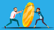 Business People Pulling Rope Lift Up Heavy Coin Vector. Illustration