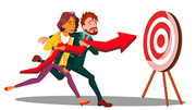Teamwork Vector. Running Businessman Woman Holding One Arrow And Plunging It Into Target. Illustration