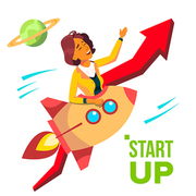 Startup Vector. Rocket Soars Up On Red Arrow Growthing Up. Business Woman Enjoying Good Start. Illustration