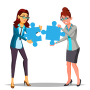 Partnership Vector. Two Business Woman Holding In Hands Large Puzzles And Put It Together. Illustration