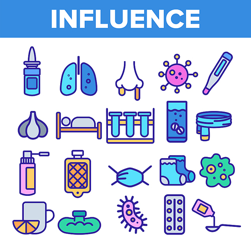 Influenza Linear Vector Icons Set. Influenza Thin Line Contour Symbols Pack. Common Cold, Runny Nose Pictograms Collection. Virus, Epidemic. Disease, Sickness Medical Treatment Outline Illustrations