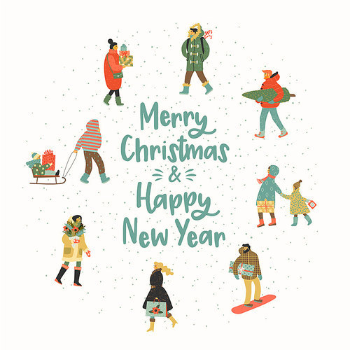 Christmas and Happy New Year illustration whit people. Trendy retro style. Vector design template.