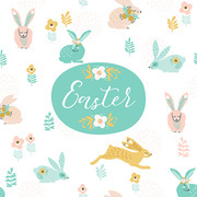 Happy Easter. Vector template with easter bunnies for card, poster, flyer and other users. Design element.