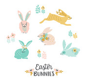 Happy Easter. Vector set of easter bunnies for card, poster, flyer and other users. Design element.
