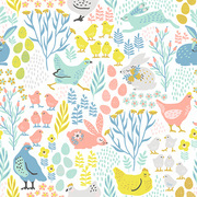 Vector seamless pattern with bunnies and chicken for Easter and other users. Design element.
